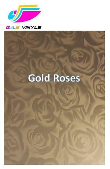 Metallic Patterned HTV :- Gold Roses