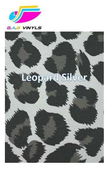 Metallic Patterned HTV :- Leopard Silver