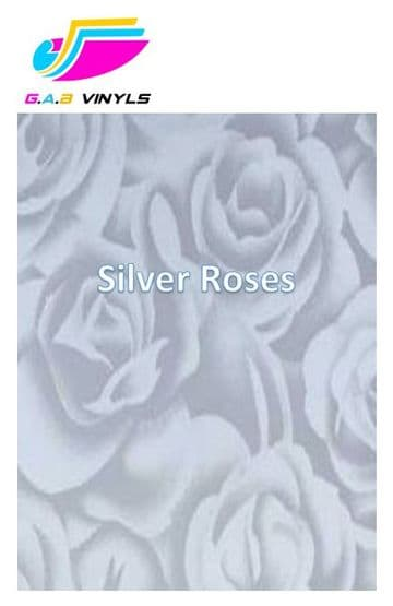 Metallic Patterned HTV :- Silver Roses