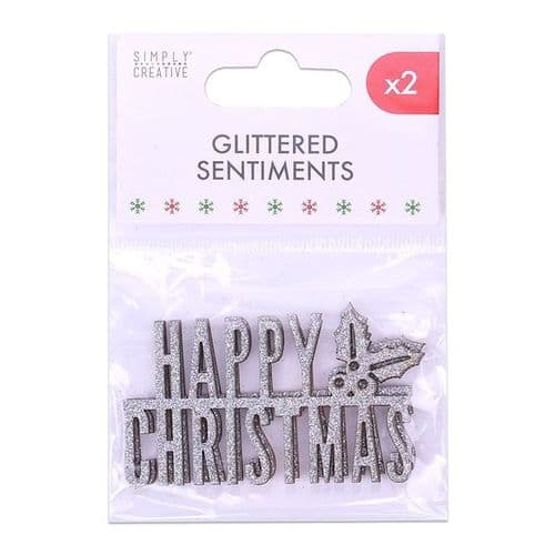 Silver Glittered Sentiment - 2 Pieces