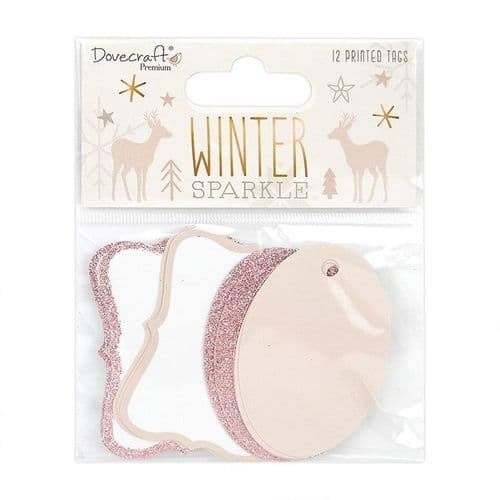 Winter Sparkle Rose Gold Glitter Tags