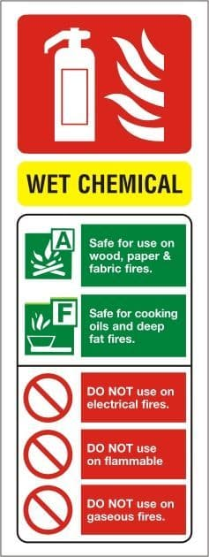 Wet Chemical Fire Extinguisher Portrait Identity Sign