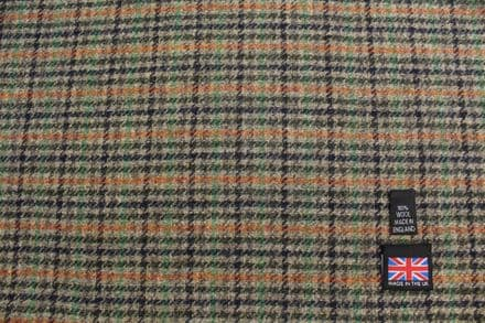 100% Pure New Wool Shetland Tweed Fancy Check Fabric | DZ43