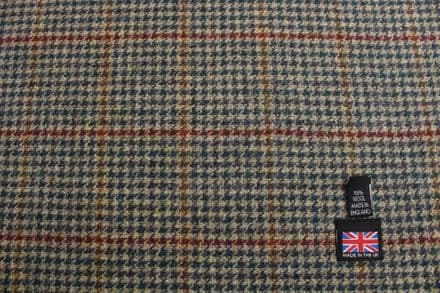 100% Pure New Wool Shetland Tweed Gun Club with Windowpane | DZ37