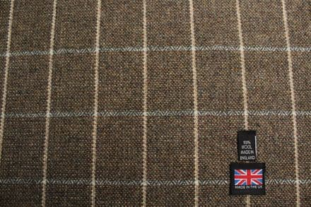 100% Pure New Wool Soft Tweed Windowpane Check Fabric | CZ66