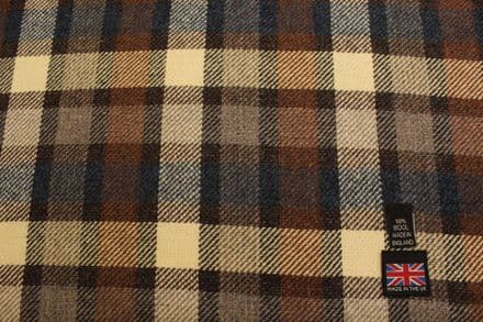 100% Pure New Wool Tweed Block Check Plaid Fabric CZ56