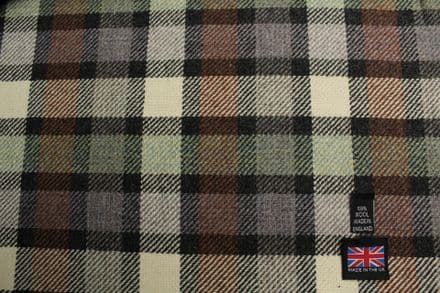 100% Pure New Wool Tweed Block Check Plaid Fabric CZ65