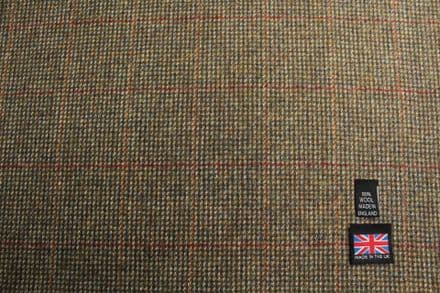 100% Pure New Wool Windowpane Check Tweed Fabric | CZ39