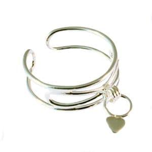 Charm School UK > Sterling Silver Toe Rings > Dangle Heart