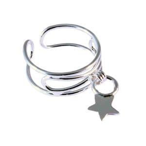 Charm School UK > Silver Toe Rings > Dangle Star