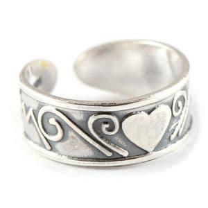 Charm School UK > Sterling Silver Toe Rings > Heart & Swirls Design