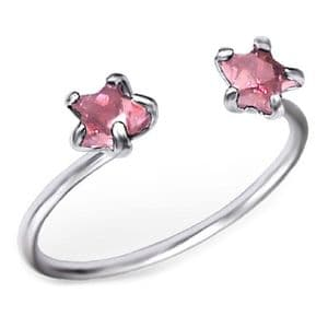 Charm School UK > Sterling Silver Jewellery > Silver Toe Rings > Pink Crystal Open Fronted Design