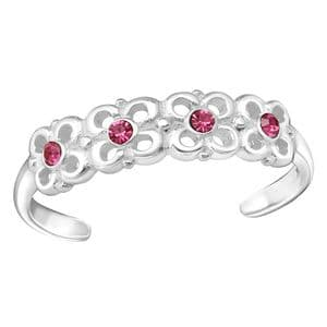 Charm School UK > Sterling Silver Jewellery > Silver Toe Rings > Pink Crystal Flower Design
