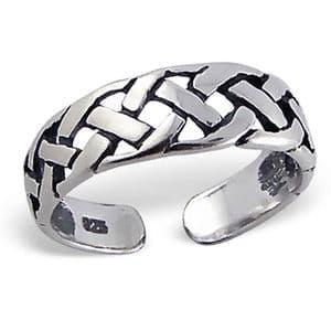 Charm School UK > Sterling Silver Jewellery > Silver Toe Rings > Woven Design