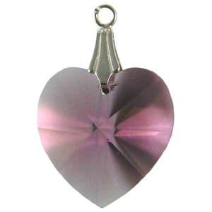 Charm School UK > Swarovski Crystal Pendants > Amethyst Heart Pendant