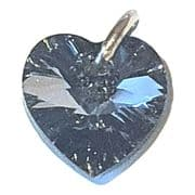 Swarovski Black Diamond AB Crystal Heart And Silver Charm