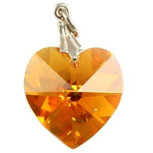 Charm School UK > Swarovski Crystal Pendants > Bermuda Blue Crystal Heart Pendant