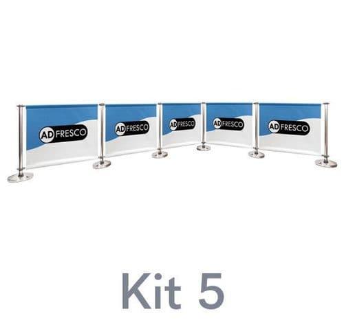 Cafe Barrier Kit 5 - 2 x 3 x 2 Corners (Solid Bottom Rail)