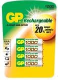 GP AAA 1000 mAh NiMH 1.2V Rechargeable Batteries (4 pack)