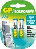 GP AAA Rechargeable Batteries for Cordless Phones - 2 Pack 650mAh