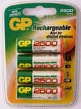 GP Rechargeable AA NiMH 2500 mAH batteries - GP250AAHC - C4 (4 pack)