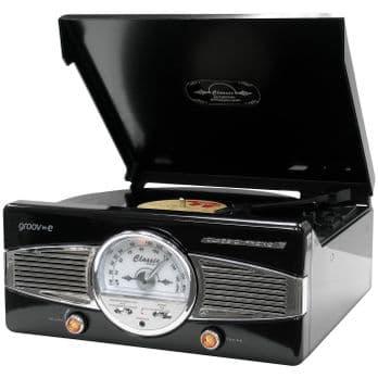 Groov-e Classic Vinyl Record Player with FM Radio & Built-in Speakers - Black GV-TT02-BK