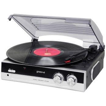 Groov-e Vintage Vinyl Record Player with Built-in Speakers - Black GV-TT01-BK