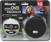 Memorex Mini DVD Essentials Kit - 8cm DVD-R Discs + Storage Case & Pen
