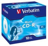 Verbatim Audio CD-R Jewel Case Blank Music CDR - 10 disc pack 43365