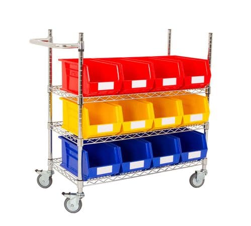 Chrome Trolley with Coloured Bins - Kit C