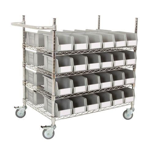 Chrome Trolley with Grey Bins - Kit B