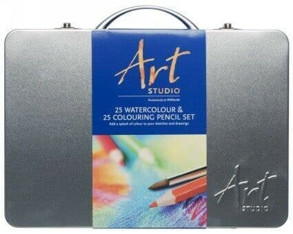 Art Studio 25 Watercolour & 25 Colouring Pencil Set