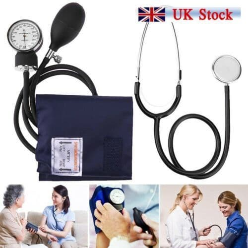 Blood Pressure Monitor Nylon Cuff Manual Sphygmomanometer & Stethoscope BP Kit