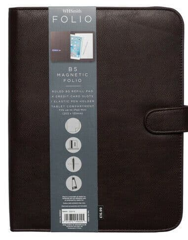 Brown B5 Faux Leather Magnetic Folio