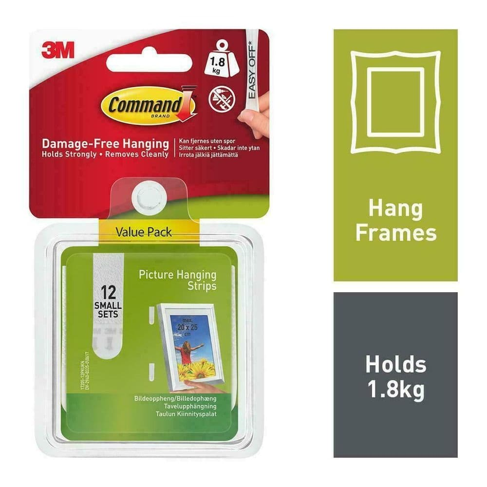 Command 17205-12PK Picture & Frame Hanging Strips White Small Pack Of 12 Sets