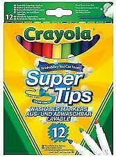 Crayola supertips washable markers felt tip pens 12 colours draw thick or thin