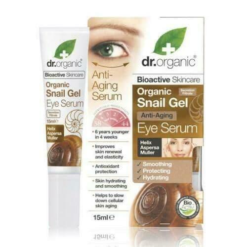 Dr Organics Snail Gel Eye Serum 15ml Organic certified Free from Parabens SLS