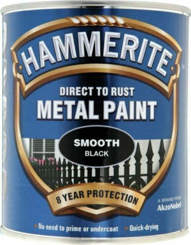 Hammerite 5092966 Direct to Rust Metal Paint Smooth Black - 750ml