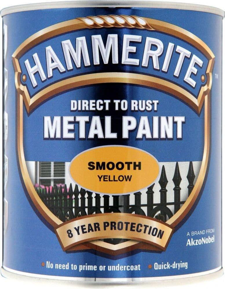 Hammerite - Metal Paint - Smooth Yellow - 750ml - Direct To Rust