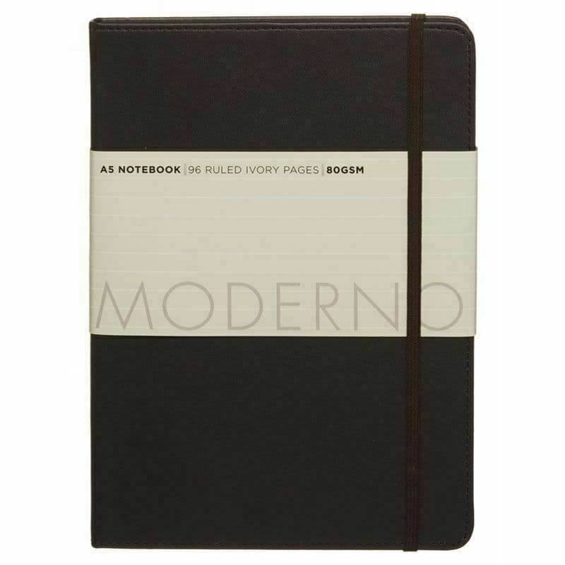 Moderno Plain Chocolate Brown A5 Notebook Hard Cover 96 Ruled Ivory Page