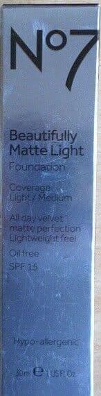 No7 BEAUTIFULLY MATTE LIGHT FOUNDATION OIL FREE SHADE: CALICO 30ML