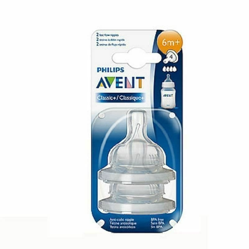 Philips Avent Classic+ Fast Flow Level 4 Teats 6m+ Twin Pack Packs