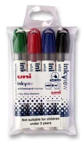 Uni-ball Inkview PWB-202 Bullet Tip Whiteboard Marker Pens - Pack of 4