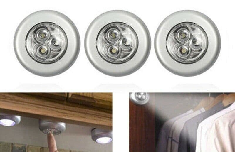 X 3 SELF ADHESIVE 3LED LIGHT EASY STICK PUSH ON OFF CUPBOARD LIGHTS STICK CLICK