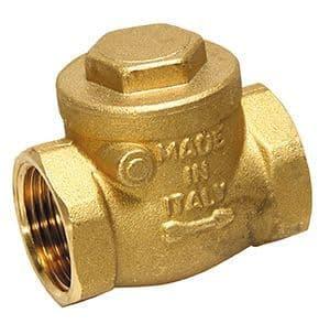 "1½"" non return valve - swing check  -  brass c/w rubber valve"