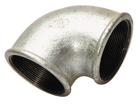 """4"""" x 4"""" elbow - female BSP - galvanised iron"""