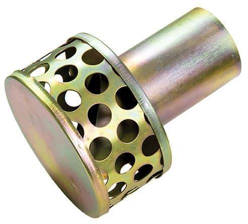 "50mm (2"") trash strainer (20mm solids) c/w hose tail  -  tin"