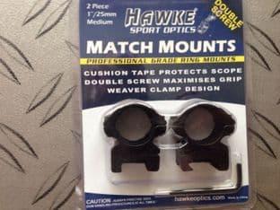 Hawke Sport Optics Two Piece One Inch Weaver Medium Double Screw Match Mount Scope Mount e