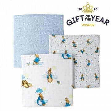 Peter Rabbit A29582 Peter Muslin Squares (Set 3) New & Boxed