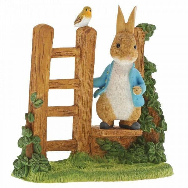 Peter Rabbit A29835 Peter Rabbit On Wooden Stile Figurine New & Boxed